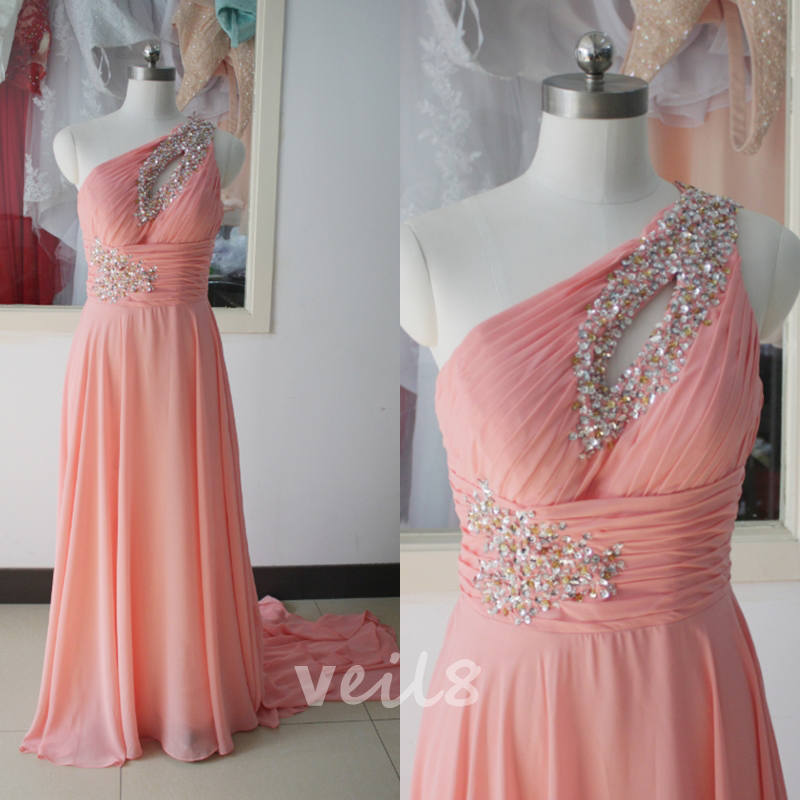 One Shoulder Chiffon Party Dress Beading Sequins Peach Bridesmaid ...