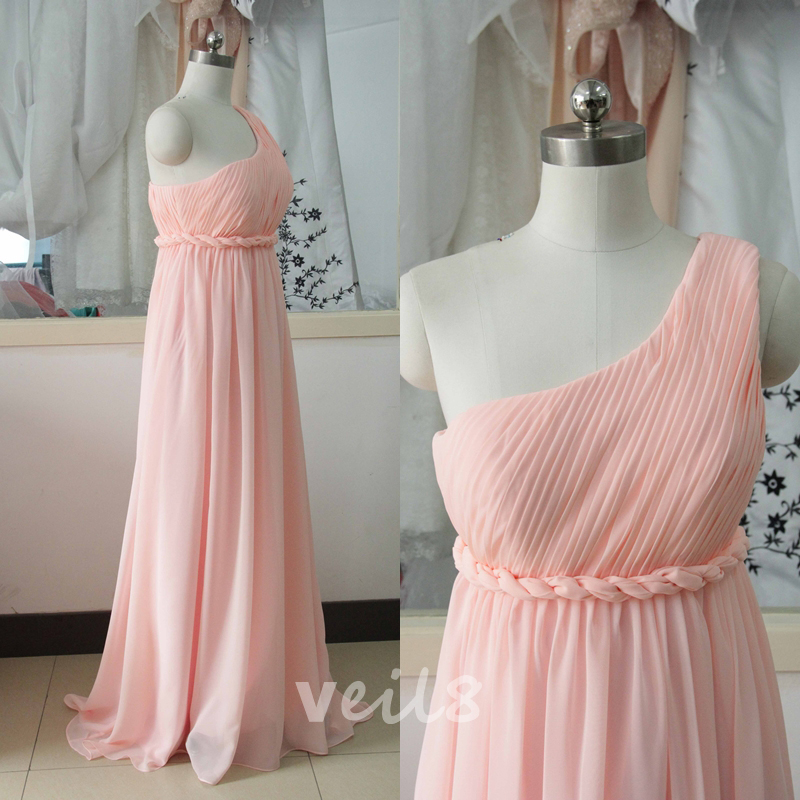 Pink One Shoulder Chiffon Bridesmaid Dress Pearl Pink Long ...