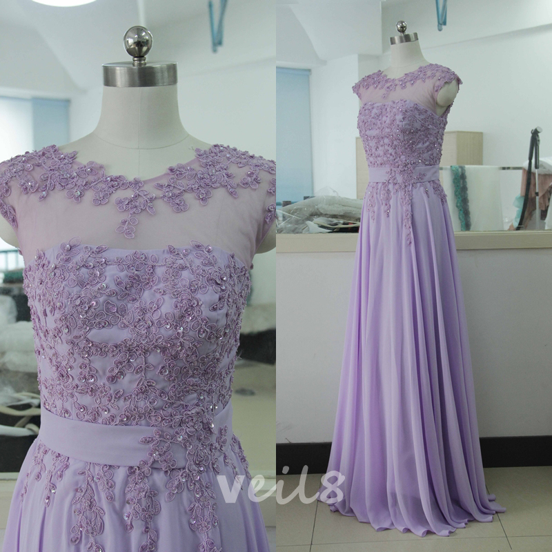 Sleeveless Woman Wedding Party Gown Lavender Lace Mother Of The ...