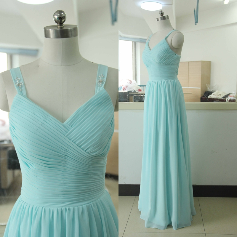 Spaghetti Straps Floor Length Chiffon Bridesmaid Dress Tiffany Blue Gown Custom BurgundyChiffon Satin Dresses Prom