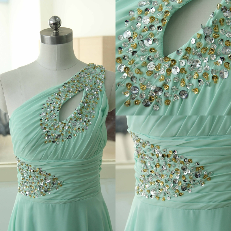 Sexy Mint One Shoulder Chiffon Party Dress Beading Sequins ...