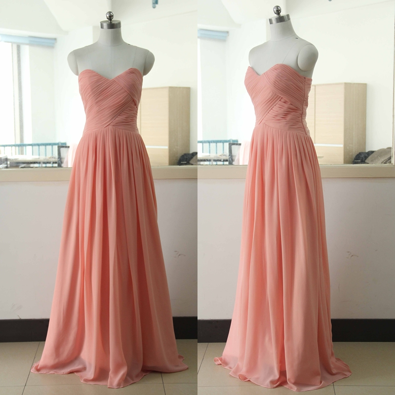 Peach Floor Length Chiffon Bridesmaid Dress Floor Length Bridesmaid ...