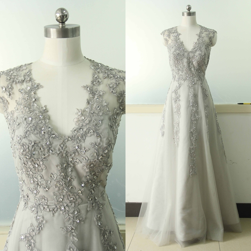 Gray A-line Lace Applique Wedding Dress V-neck Bridal Wedding Dress ...