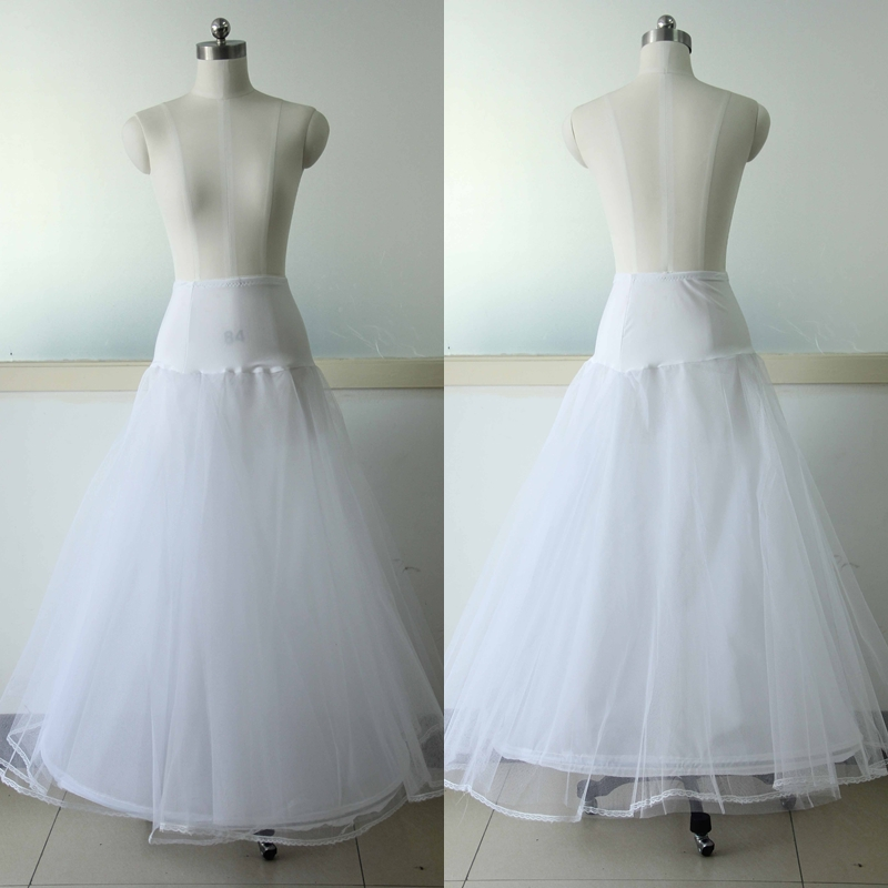 White Wedding Dress Petticoat A Line 1 Hoop Bridal Accessiories Underskirt With Ruffles For Gown