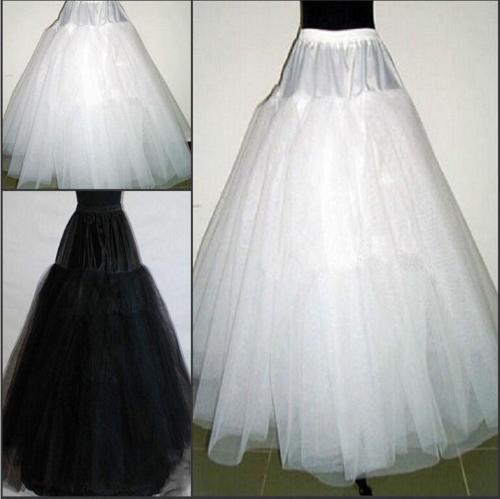 1fa3e51d0f47 Hot 3 Layers Hoopless White/Black Bridal Petticoat Wedding Underskirt  Crinoline