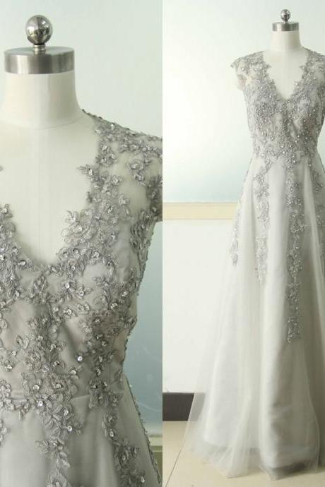 Gray A-line Lace Applique Wedding dress V-neck Bridal Wedding dress Dark Grey Wedding Gowns Custom US Size 0 2 4 6 8 10 12 14 16 18 ++