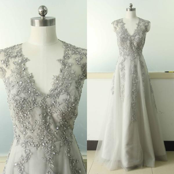 Grey Gowns Wedding: Gray A-line Lace Applique Wedding Dress V-neck Bridal